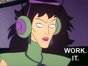 Super Friends Medula and her headphones